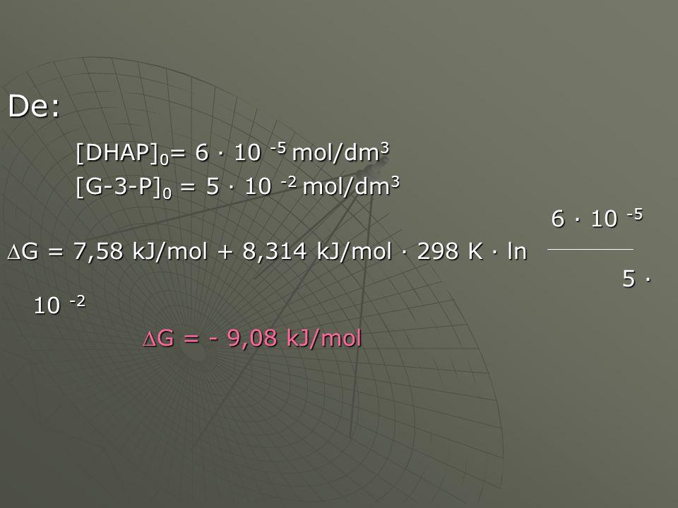 De: [DHAP]0= 6 · 10 -5 mol/dm3 [G-3-P]0 = 5 · 10 -2 mol/dm3 6 · 10 -5